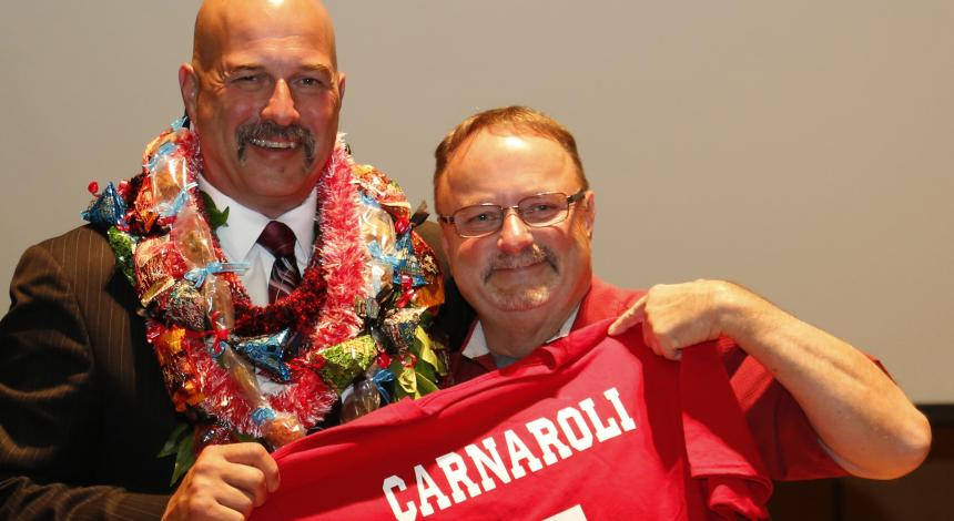 Rick Carnaroli and friend at the Athletic Hall of Fame induction