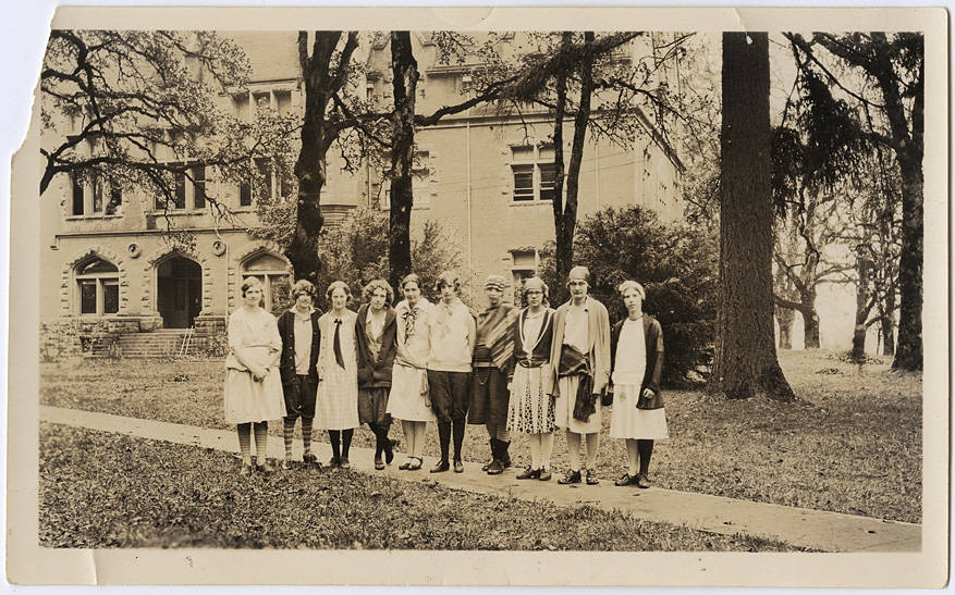 Female students during the annual Clean-Up day in the 1920's.