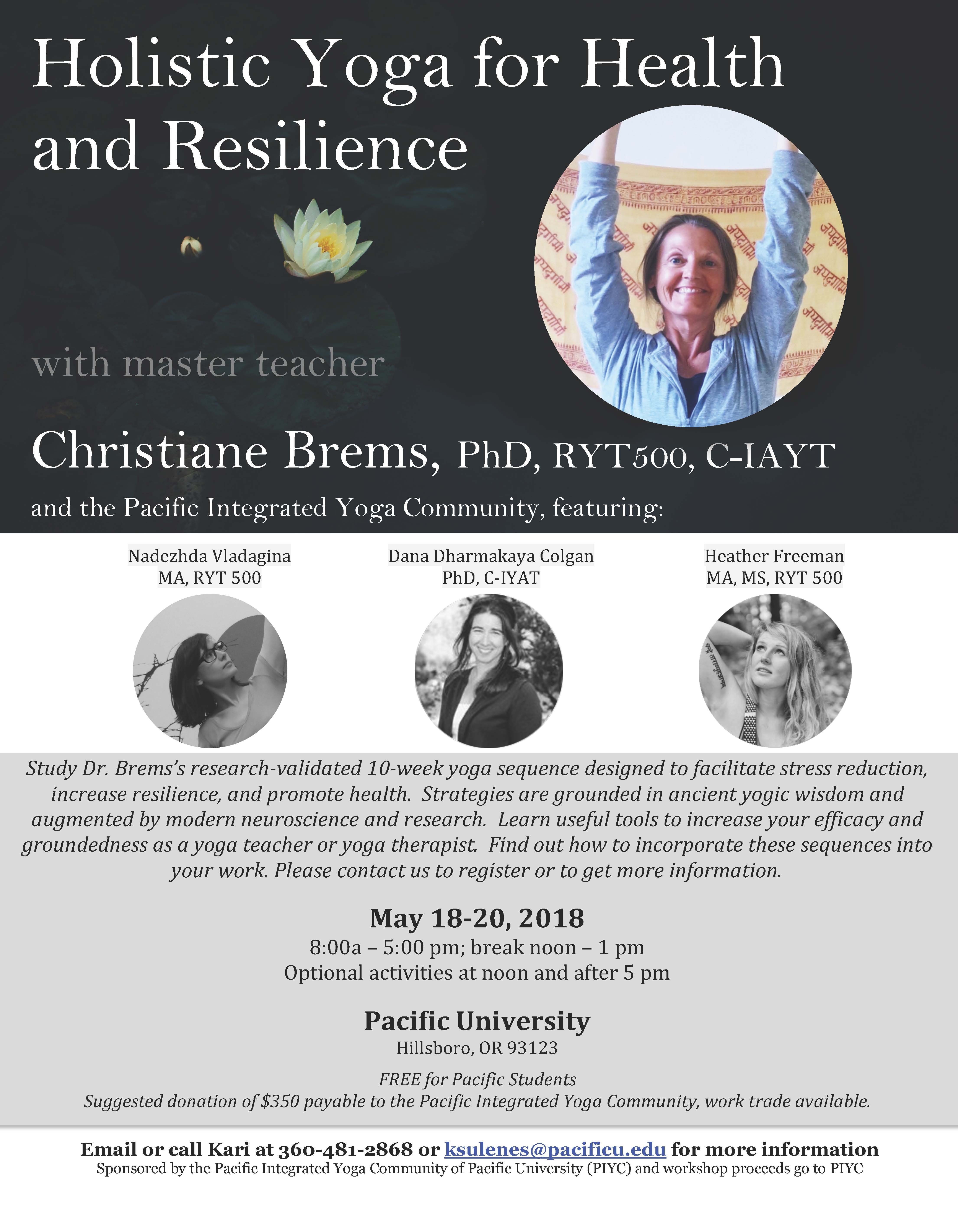 Attend The Holistic Yoga For Health And Resilience Workshop