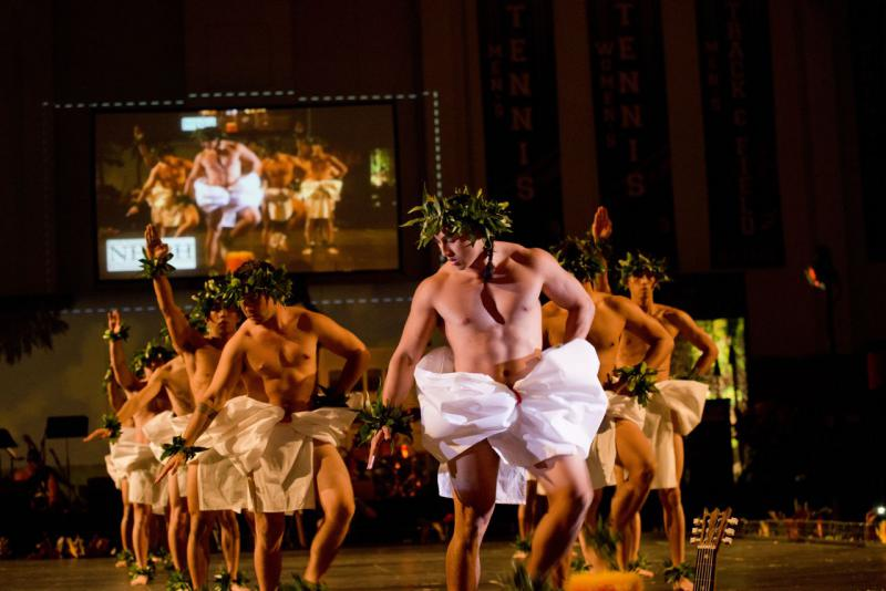Male dancers perform at annual Pacific University luau