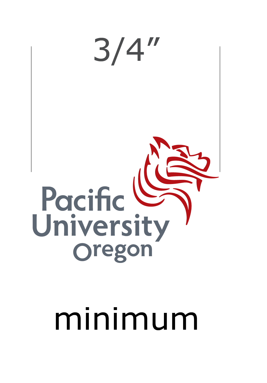 The Pacific University logo has a minimum width of 3/4 inch.