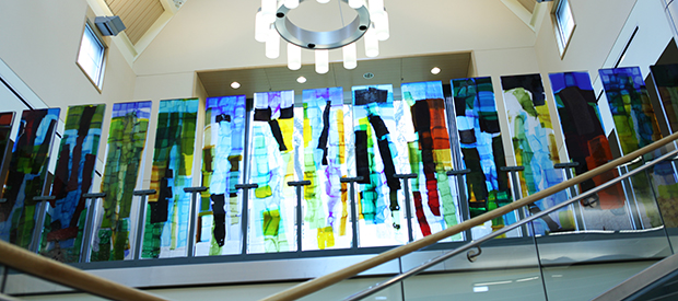 glass art in library