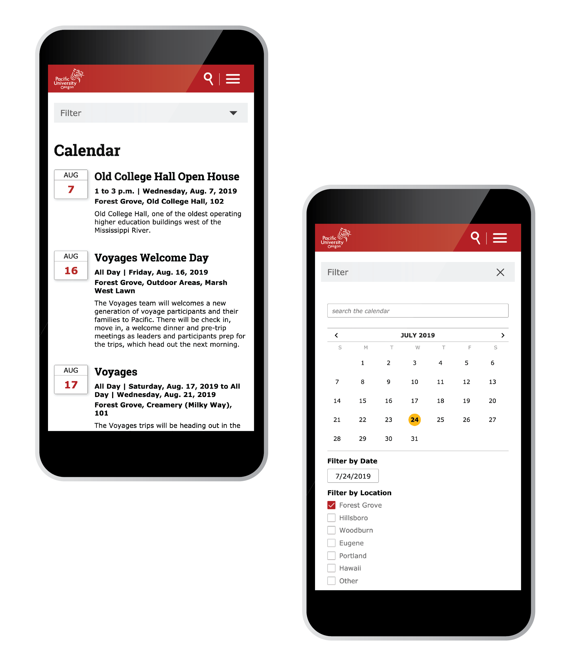 Calendar view on smartphone view
