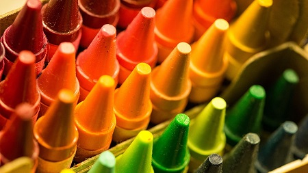 Red, Orange, Yellow and Green Crayons