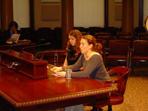 Jean Laschever and Celeste Goulding testifying before the Portland City Council on the UN Convention on the Rights of the Child.