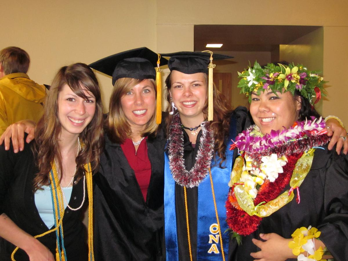 Vera Walliser, (second from left) with fellow 2010 graduates, Terra Neilson, Celeste Goulding, and Tia Navarro