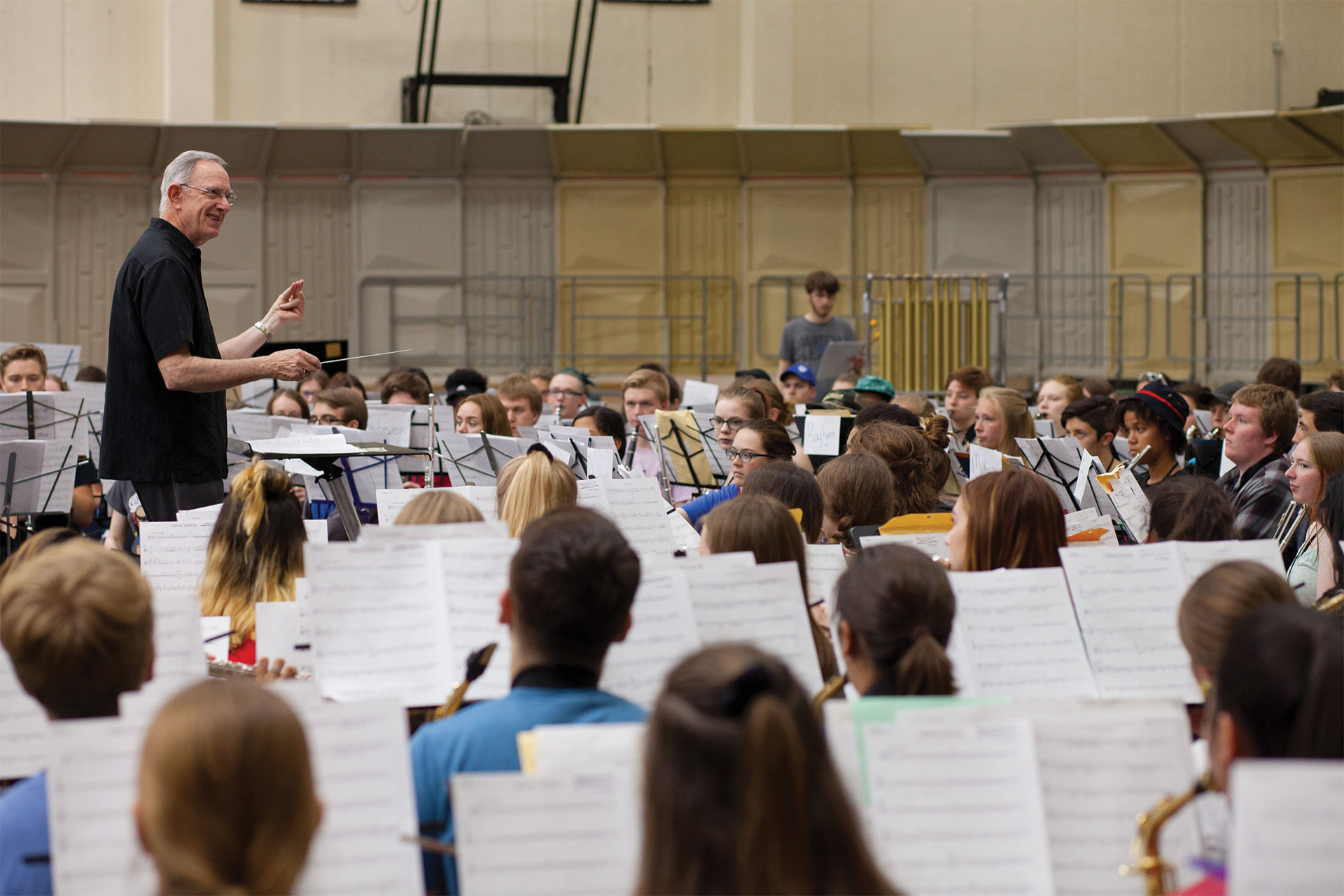 Dr. Burch-Pesses Conducting students in ensemble