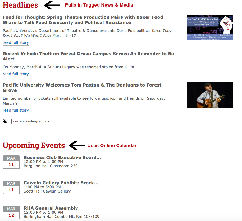 Screenshot of MyPacific news and event feeds, with arrows indicating how they are generated