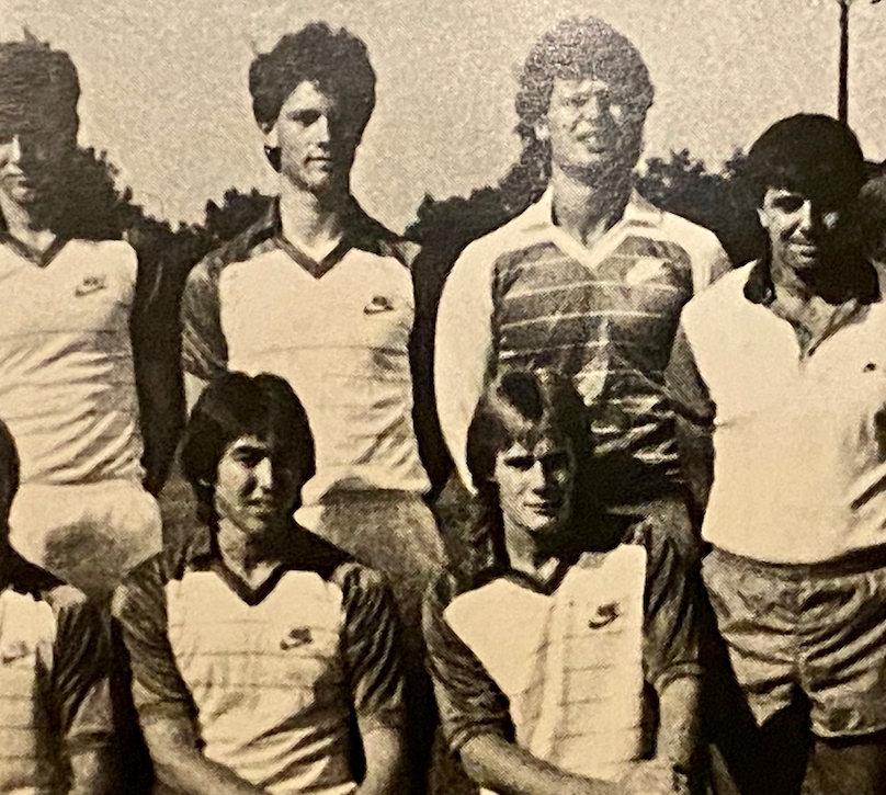 Jimmy Conway, right, with the 1986-87 Pacific soccer team
