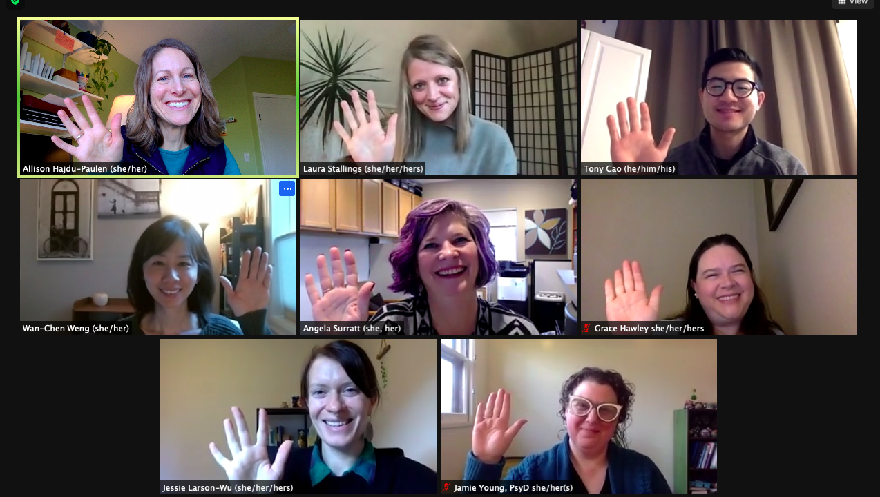 SCC staff waving on a video call