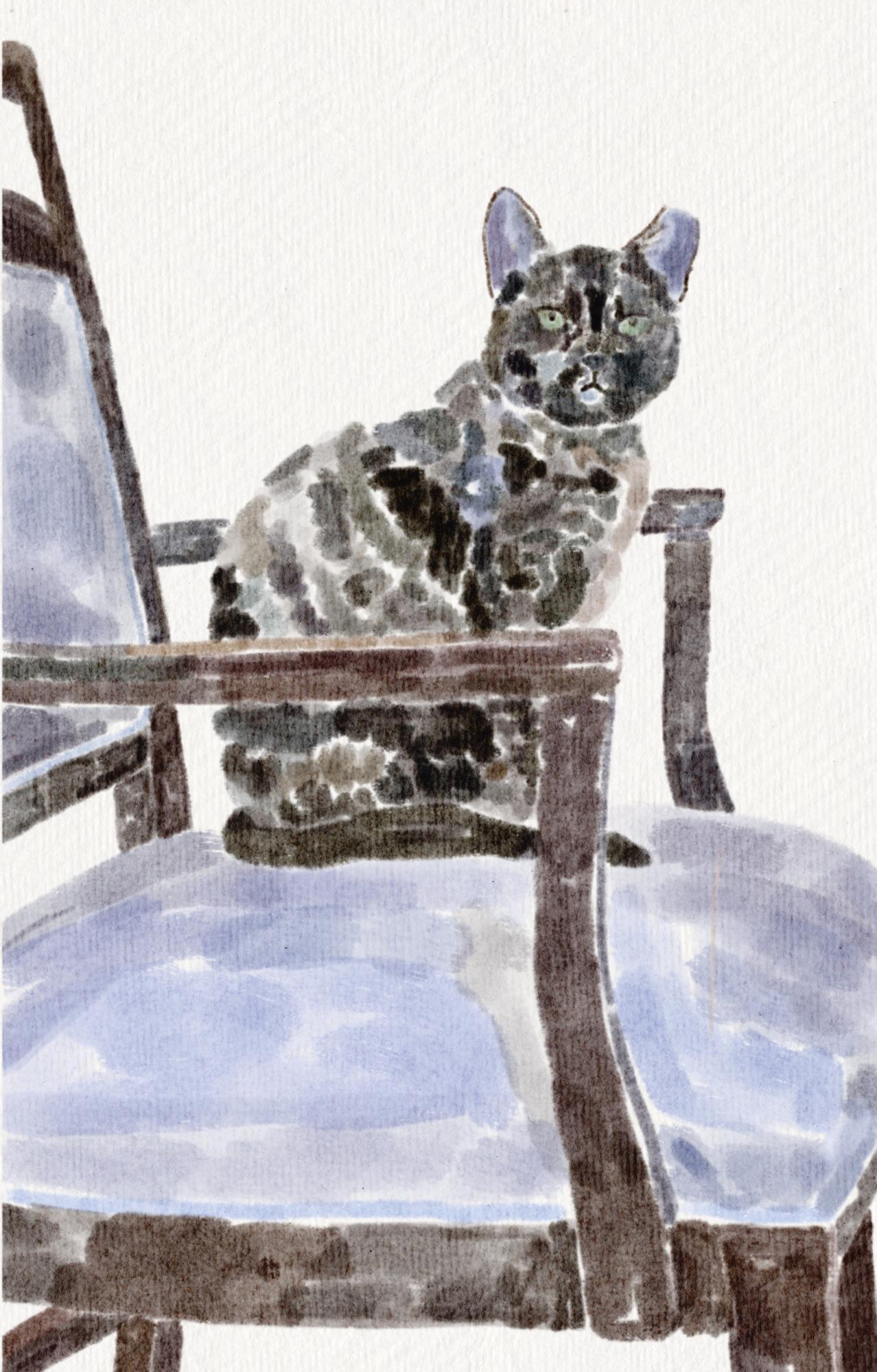 painting of cat in chair