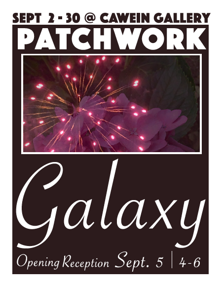 Image of Exhibition poster for Patchwork Galaxy. Image contains fireworks and flower petals