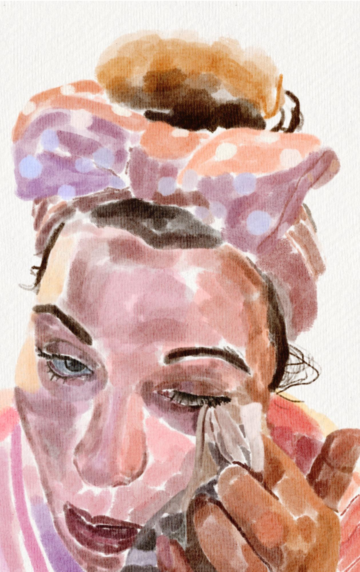 painting of woman undergoing self care routine
