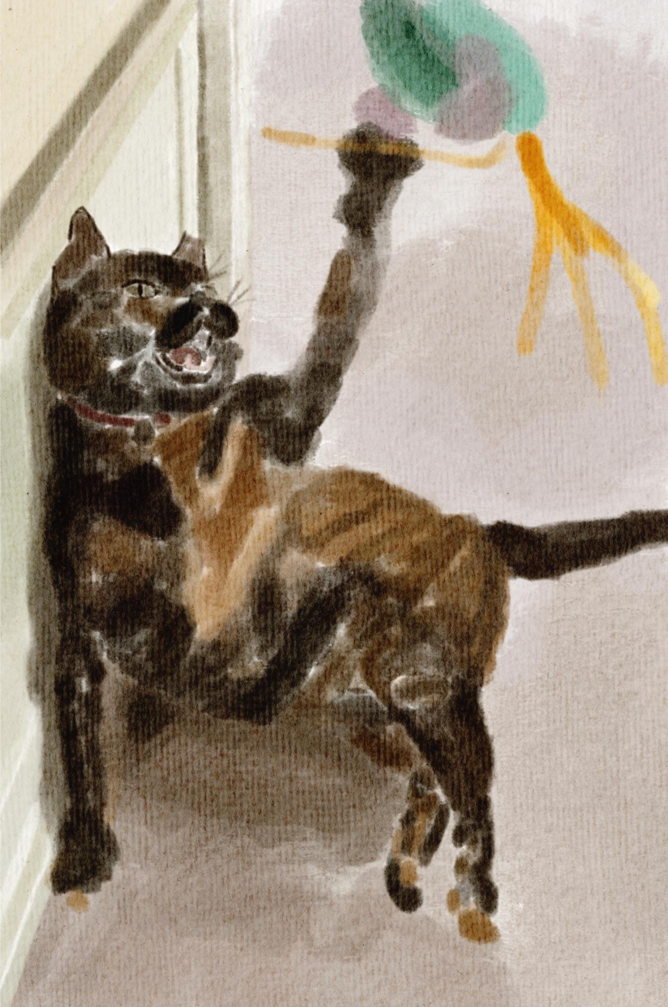 painting of a cat striking toy