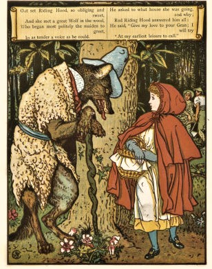 image of little red riding hood in old book
