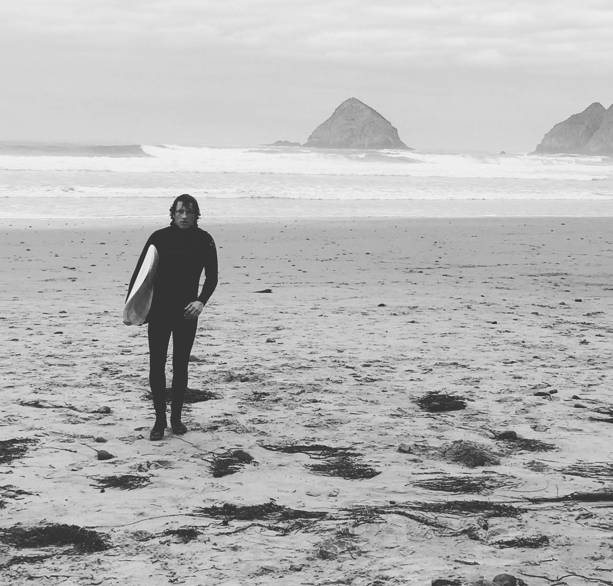 Drea Hanks, Outdoor Pursuits Cadre, surfing on the Oregon Coast