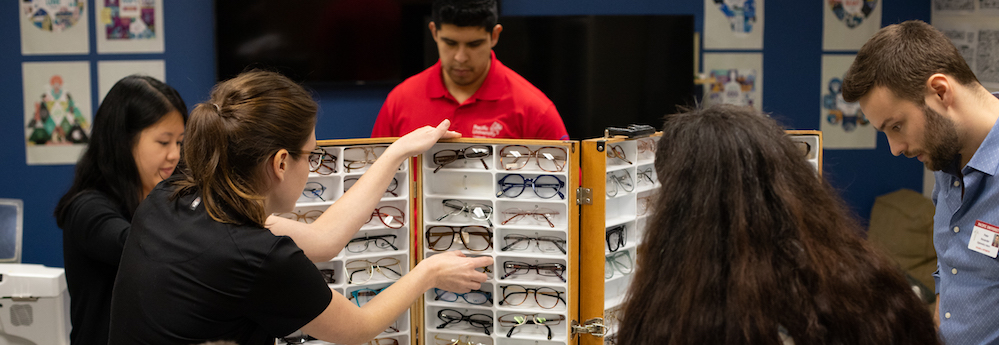 eyeglasses display at an Optometry Community outreach event