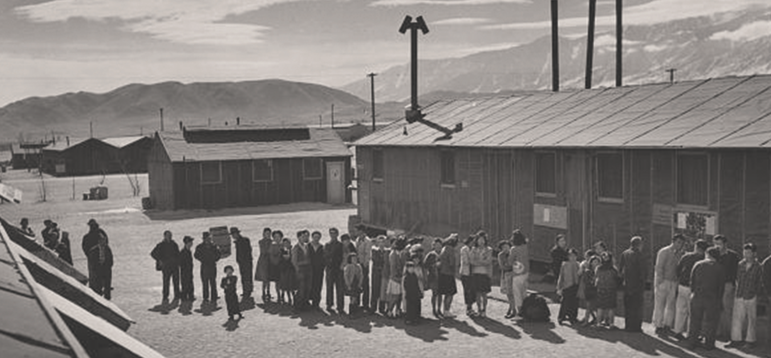 Japanese-Americans lined up at an internment camp
