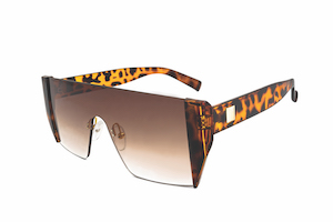 thick plastic tinted frameless lenses with leopard print earpieces