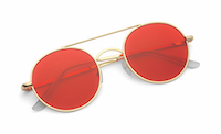 round wire glasses with tinted red lenses