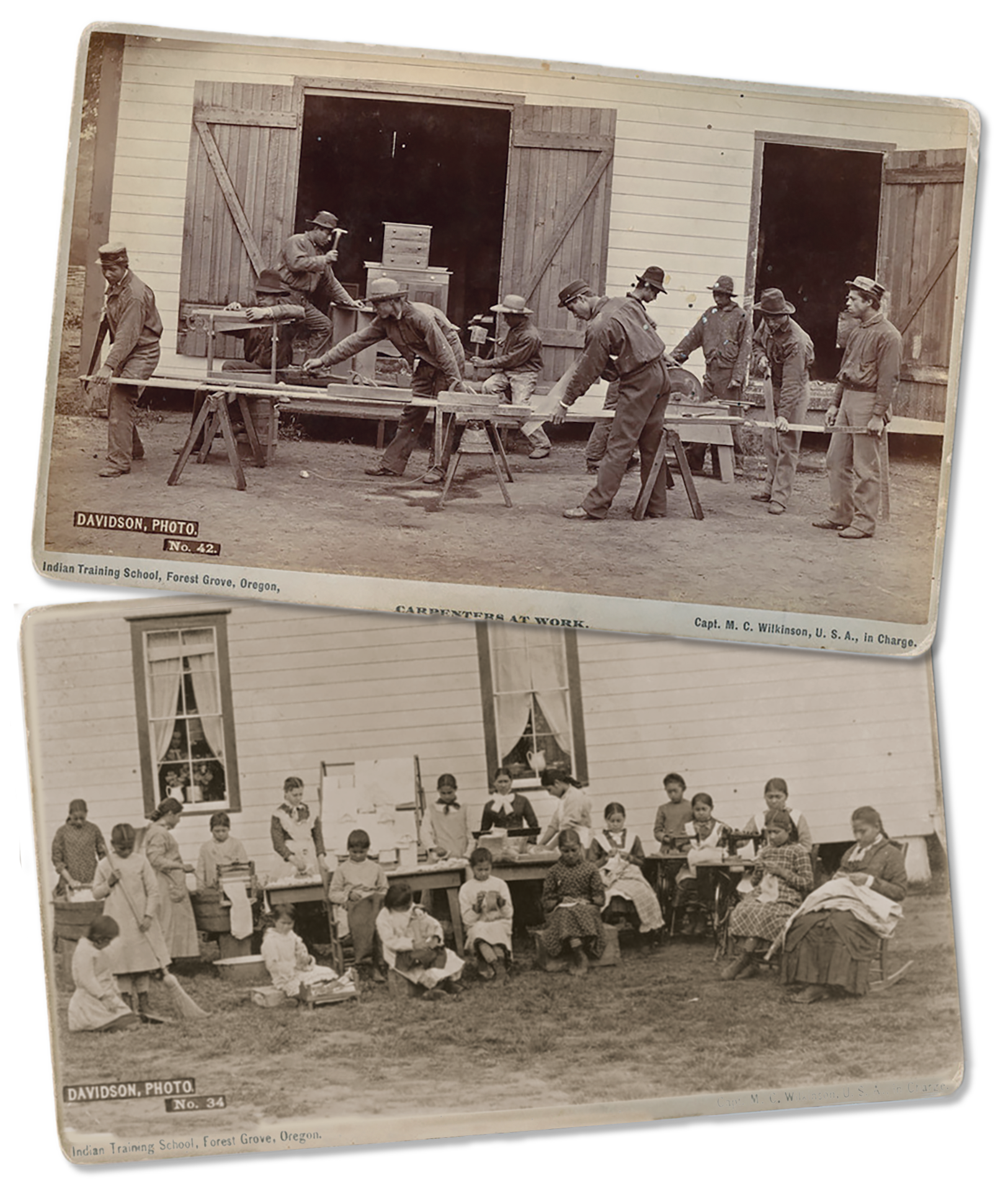 Two archival photographs depicting a men's carpentry class and women's homemaking class