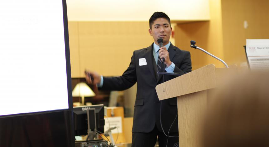 Tyler Oshiro presents research