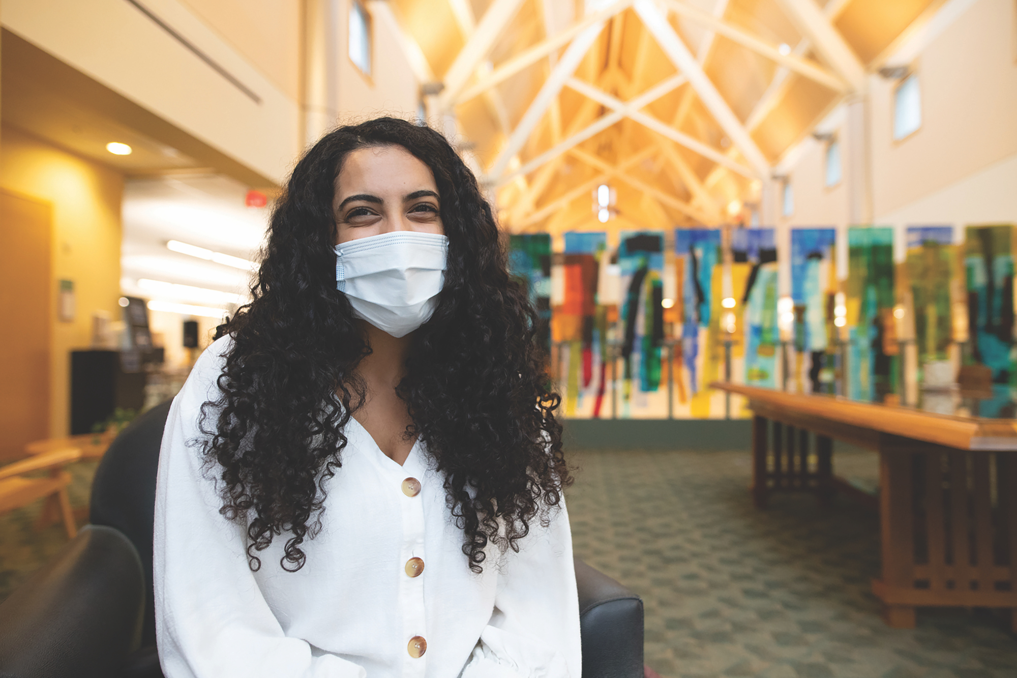 """""""I think my biggest motivation is not letting the pandemic be a setback. You know, we're here learning how to overcome adversity and so overcoming a pandemic is just another thing to do."""" — Rachel Hakim '21"""