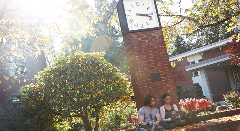 Students study in Trombley Square