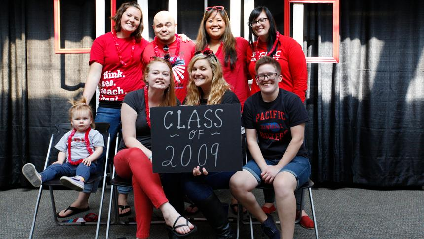 Class of 2009 posing for a reunion photo