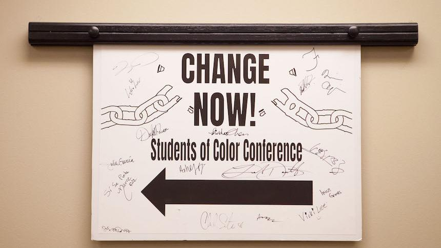 Sign for students of color conference
