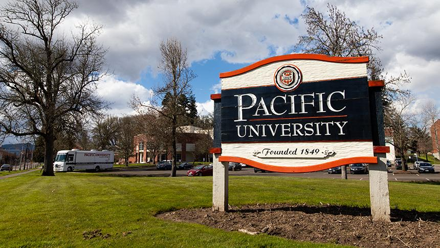 Pacific University sign