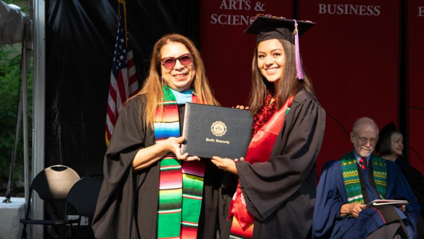 Maria Guerrero receives award at August commencement