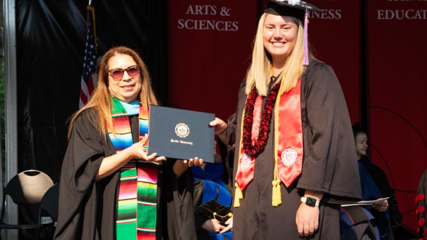 Danielle Hobbs received award at August commencement