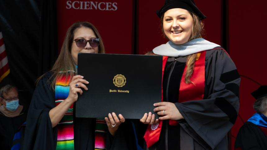 Carly Sproul receives award at August commencement