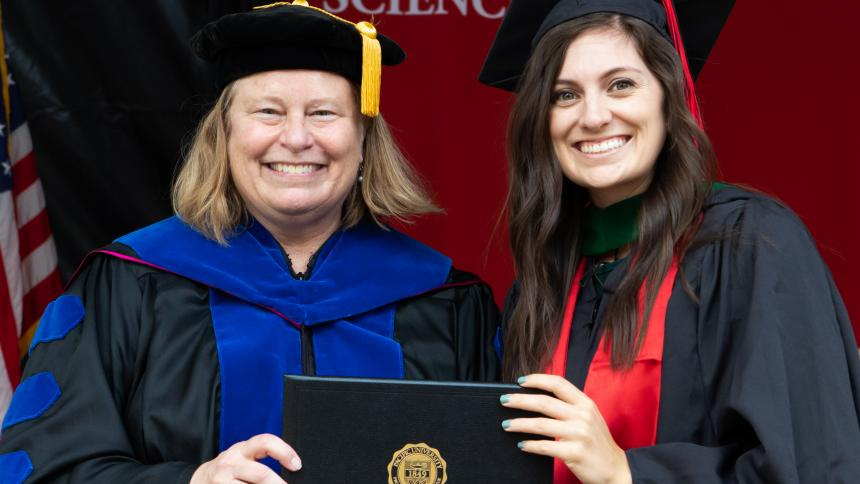 Brooke Mejorado receives award at August commencement