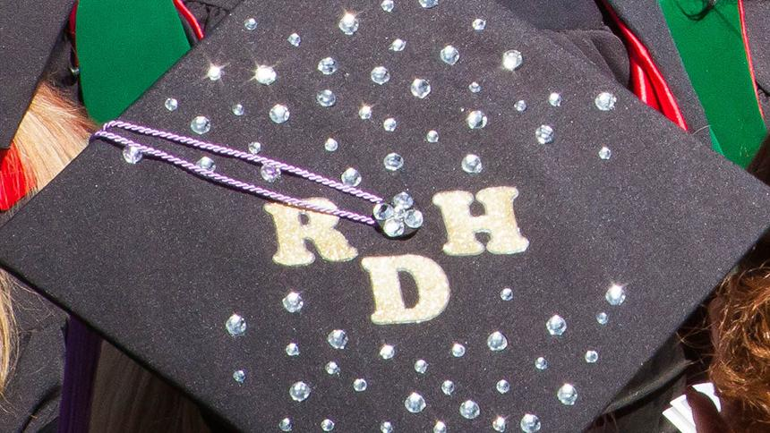 Grad cap decorated with RDH