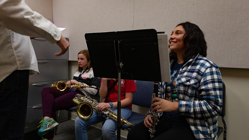 Youth get brass lessons from Pacific students