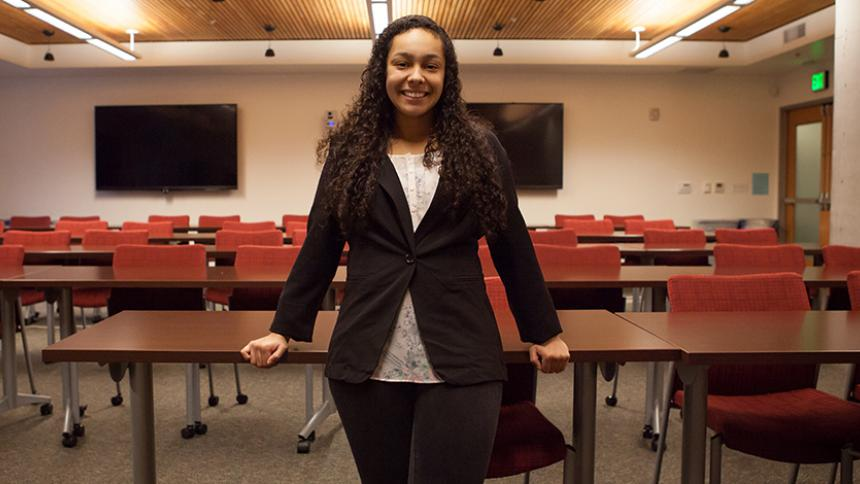 Taylor Gillespie '15, MBA '17 poses on the Hillsboro Campus