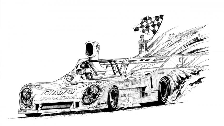 Race car sketch by Hugh B. Alexander '79