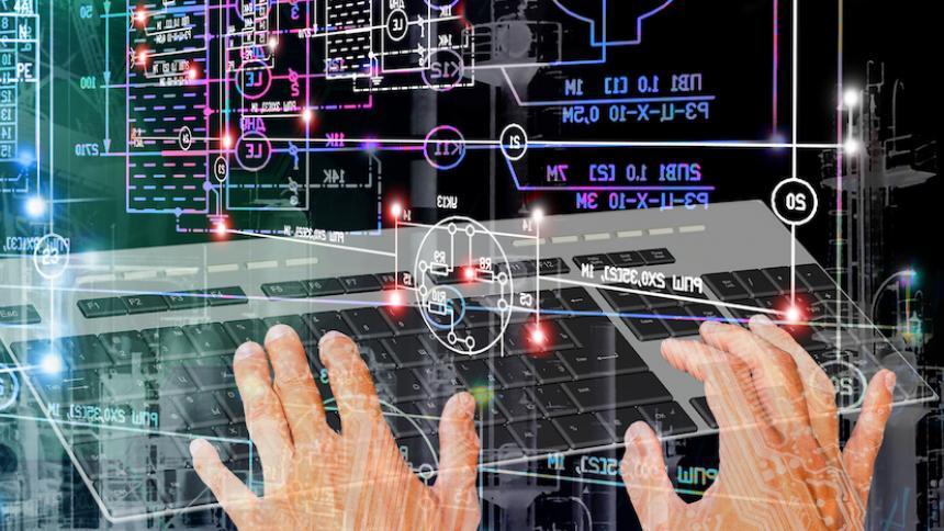 hands over computer model