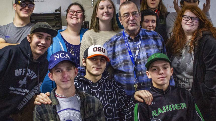 Noah Elliott and his students