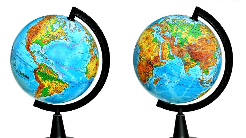 Two Earth globes