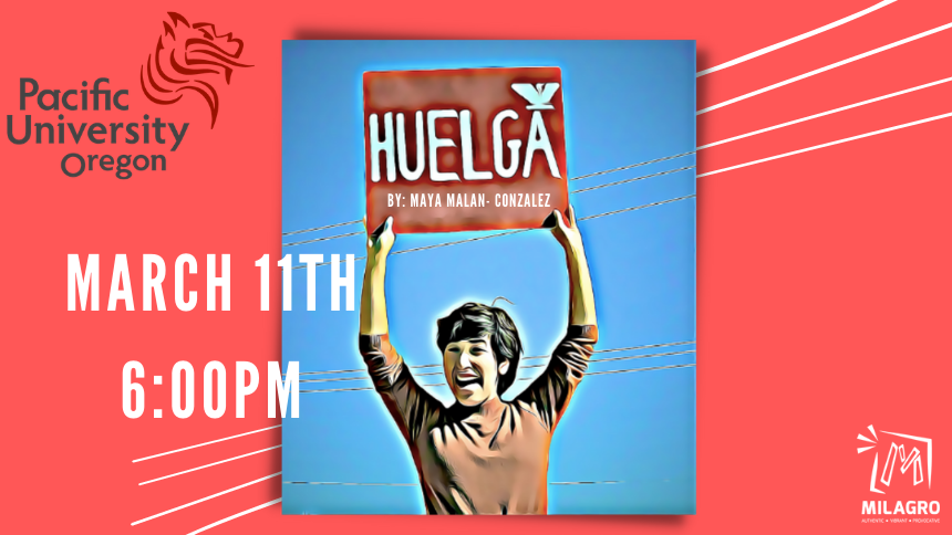 Dolores Huerta graphic holding strike sign in spanish