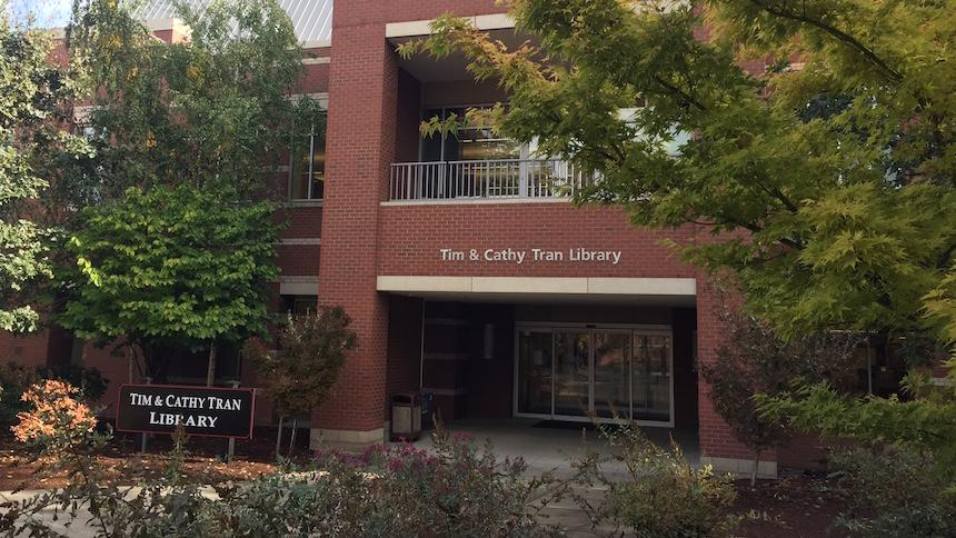 Exterior of Tran Library