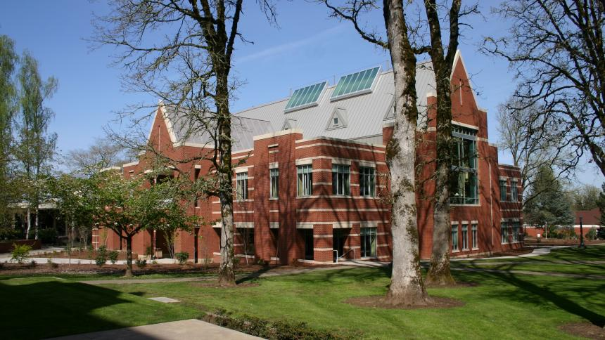Exterior of the Tim & Cathy Tran Library on Forest Grove Campus