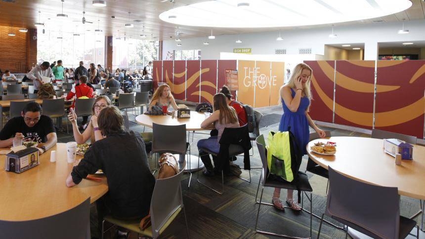 Students eating inside the Grove Dining room, Pacific University