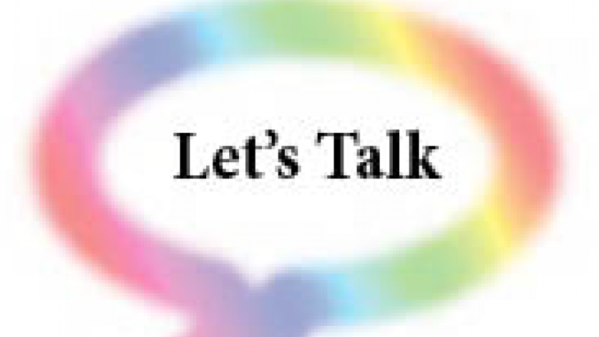 "Text ""let's talk"" surrounded by a rainbow talk bubble"