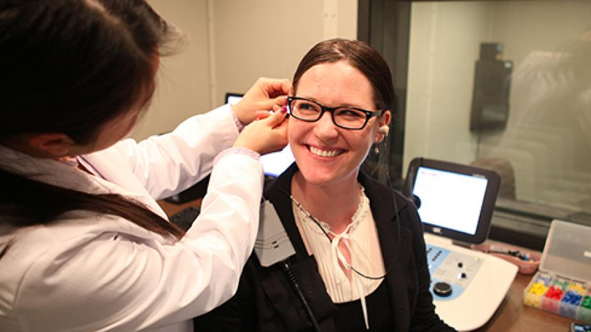 Patient in the ear clinic