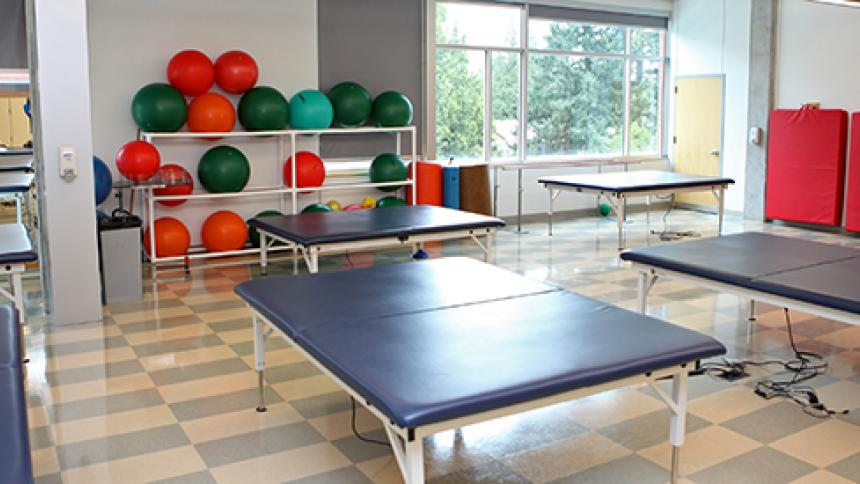 Mats and exercise balls in a Physical Therapy clinic room