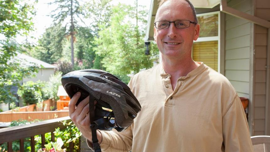 Doug Keller pictured with his bicycle helmet.